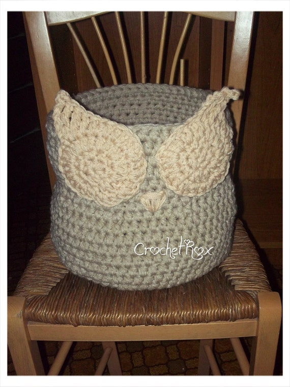 Crochet Owl Basket : Custom Crocheted Owl Basket Crocheted storage by CrochetRox