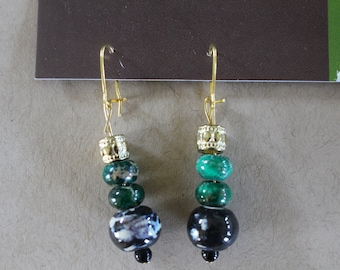 Multi green and gold earrings