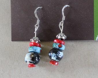 Red and black multi earrings