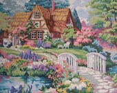 Vintage Large Paint by Numbers Cottage Garden Flowers       S723