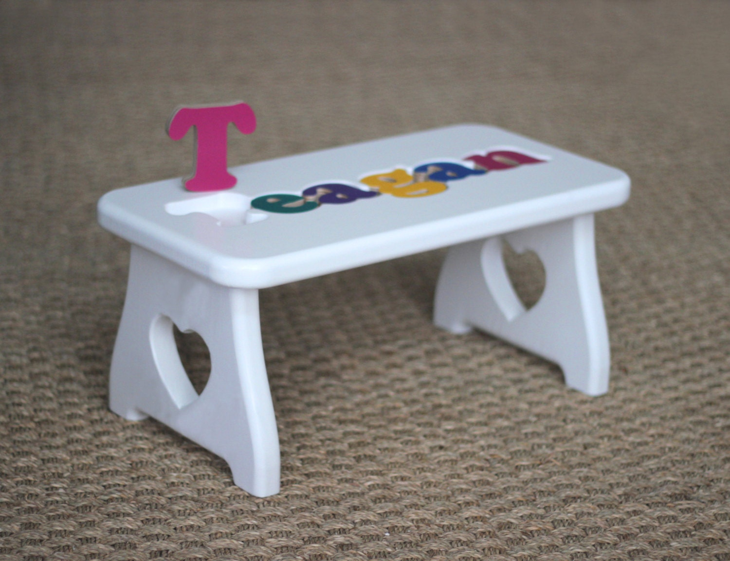 Personalized Puzzle Stool White Heart Step Stool By Craftcarve