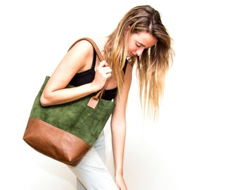 Sale!!! Green leather tote bag, Suede Leather Bag, green leather bag, Green Suede tote, Leather tote Bag