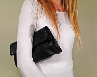 Black Leather clutch purse Fold over bag Fold over clutch purse Handbag Evning Leather Clutch Bag for Women