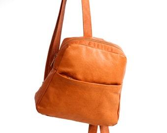 Sale!!! Brown Leather Backpack, middle size leather backpack rucksack, Laptop Bag women backpack