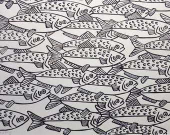 Original Shoal of Herring Fish Lino Print Art