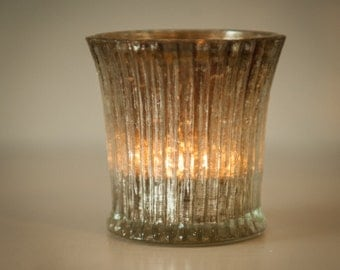 Glass Tea Light Holder - Fluted with Distressed Silver Foil, Set of 12