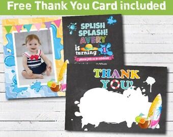 Splish splash birthday invitation. Girl birthday chalkboard. Kids summer pool party beach party birthday printable invitation. KB027