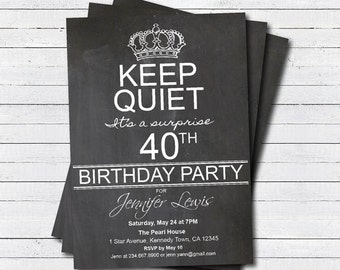 Adult surprise 40th birthday party invitation. 50th birthday 60th birthday 70th birthday invite. surprise party keep calm and party AB045
