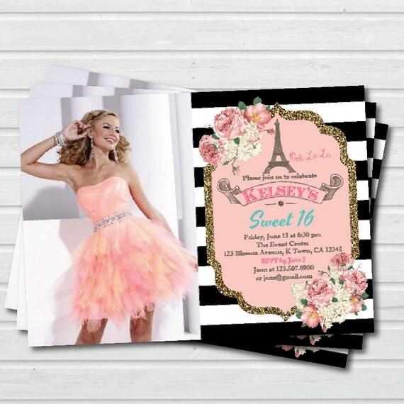 Paris Sweet Sixteen Quincea era party invitation Eiffel – Quince Party Invitations