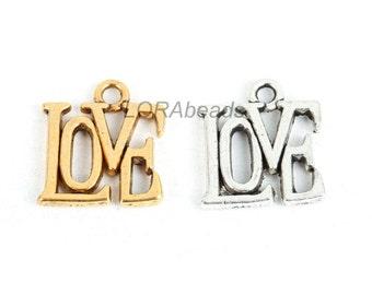 "30pcs New Hot Fashion Tibetan Silver ""LOVE""Charm Pendant Alloy Accessories"