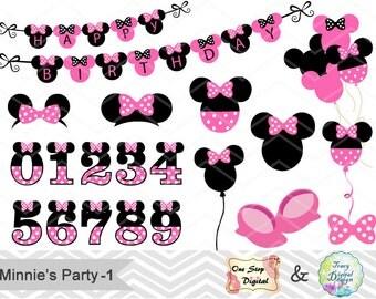 Digital Minnie Clipart Minnie Clip Art Pink Minnie Birthday Party Pink Minnie Balloon  Pink Minnie Numbers Pink Minnie Banner 00173