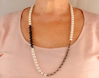 Long fashionable necklace Swarovsky crystals necklace, Black- White necklace, Similarity of pearls and gemstone onyx