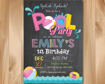 Pool Party Invitation Chalkboard. Girl Pool Birthday Party Invite. Splish Splash. Beach Ball. Kids Birthday. Printable Digial file.