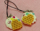 Waffle Heart and Decoden Phone Charm with Pearls and Rhinestones