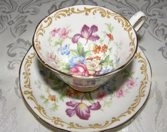 Vintage ROYAL ALBERT fine bone china NOSEGAY Tea Cup & Saucer w/rounded Handle