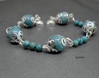 Turquoise beaded bracelet, Stone bracelet, Green stone bracelet, Beaded chain bracelet, Turquoise gemstone bracelet, Green beaded bracelet
