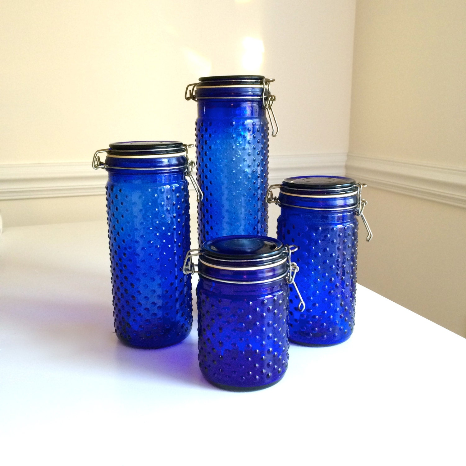 Cobalt blue kitchen canisters 28 images cobalt blue glass fruit canister set 4 pcs elements - Blue glass kitchen canisters ...