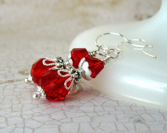 Bright Red Earrings, Cherry Red Crystal Dangles, Vintage Inspired Earrings, Red Crystal Drops, Romantic Jewelry, Red Beaded Earrings