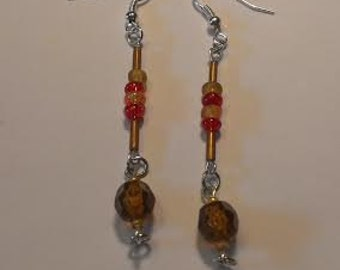 Dangle Drop Earrings in Red, Brown, and Gold Beads