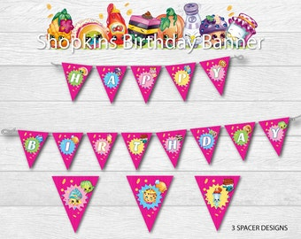 Instant Download - Shopkins Pink and Colorful Birthday Party Banner Bunting Pennant Printable