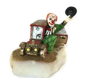 Retired Ron Lee Clown, Casey Cruising, Signed Collectible Clown Figurine, Vintage Home Decor