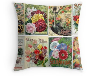 Gift for Gardener, Flowers Throw Pillow, Garden Decor, Sweet Peas, Morning Glory, Pansies, Floral Cushion, Garden Cushion, Gardening Pillow