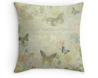 Boho Chic Decor, Butterfly Decor, Pretty Cushions, Butterflies, Butterfly Cushion, Vintage Decor, Pastel Throw Pillow, Pastel Cushions
