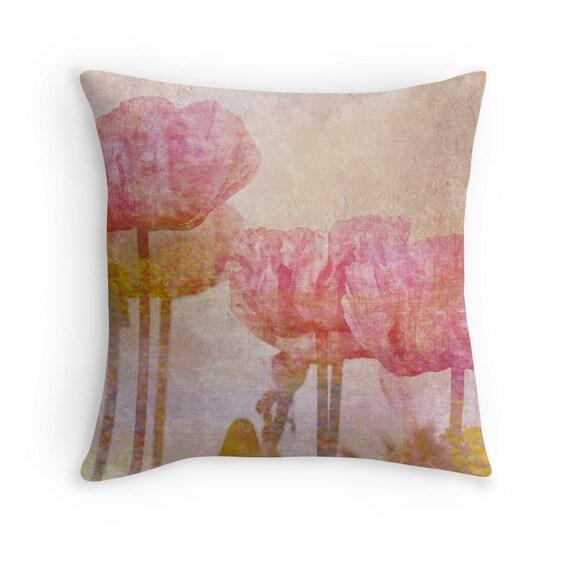pink cushion pink poppies poppy throw pillow poppy cushion