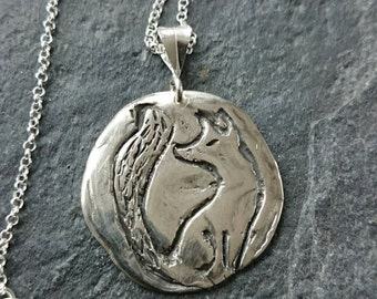 Fox pendant Handmade and carved in Fine Silver Pendant on sterling silver chain, silver fox, fox jewellery