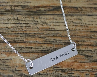Amor Spanish (Love) Plate Necklace, Hand Stamped, Mother's Necklace, Personalized, Spanish Jewelry
