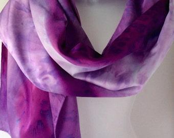 Purple scarf, hand painted silk scarf for women, custom scarf