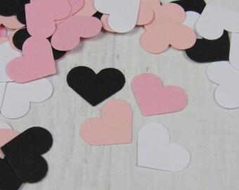 500 Black and Blush Heart Confetti - Blush Wedding Decor - Black and White Paper Hearts - Batchelorette Party Decoration