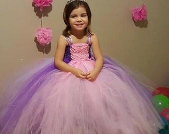 Pink and Purple Princess Tutu Dress- Birthday, photo prop, vacation, dress- up tutu Dress