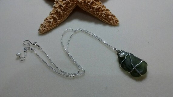 Dark Green Authentic Sea Glass and Sterling Silver Necklace SG615174
