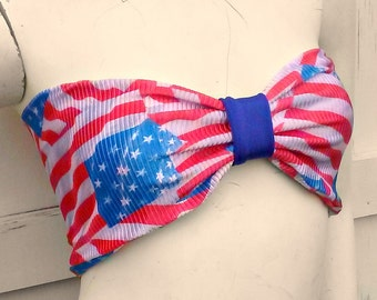 old glory distressed American Flag bow Bandeau bikini top geek swim bra