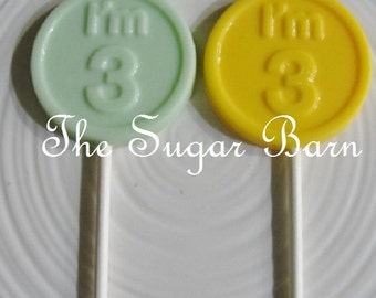 3RD BIRTHDAY CHOCOLATE Lollipops*12 Count*I'm 3 Lollipops*3 Year Old Party Favors*#3 Birthday Party Favors