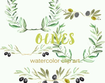 Olives Watercolor clip art hand drawn. Romantic wedding, light green, tender green branches, wedding invitation, wreath  and arrangements.