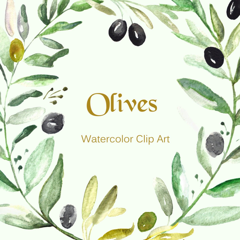 Wedding Tree Watercolor Clipart: Olives Watercolor Clip Art Hand Drawn. Romantic Wedding Light