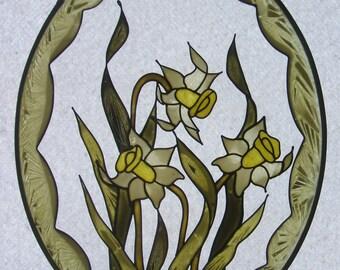 Suncatcher- Hand-painted on glass-  Daffodils