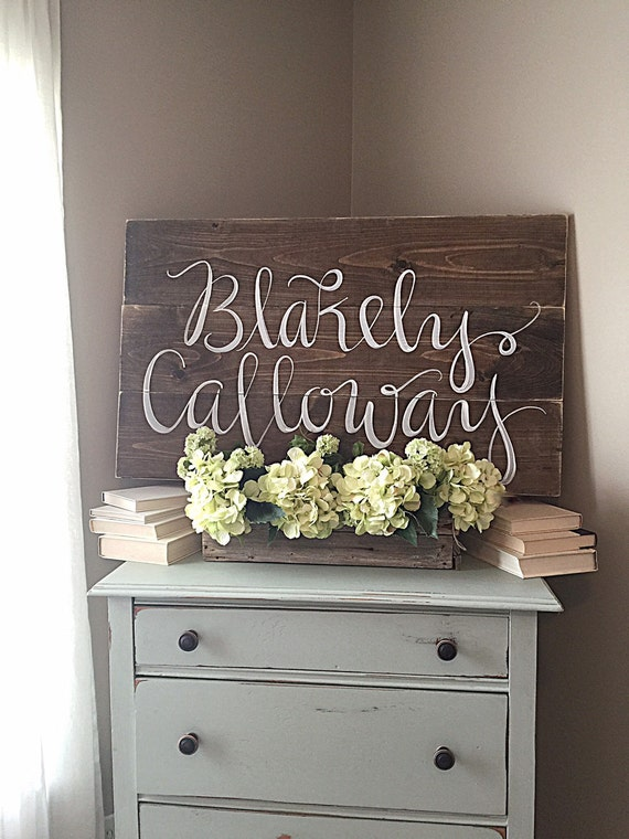 Nursery decor rustic home decor wood sign personalized for Home decor names