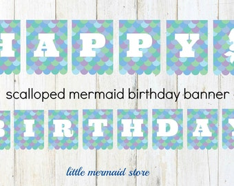Scalloped Mermaid Birthday Banner Printable, Instant Download