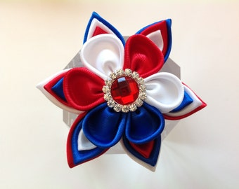 4th of July Kanzashi Flower, Tsumami Kanzashi Fabric Flower, Fourth of July Kanzashi Flower Brooch Pin/ French Barrette/Alligator Clip