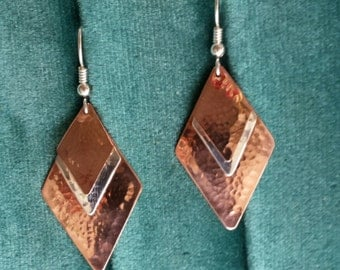 Sterling and Copper Hammered Earrings