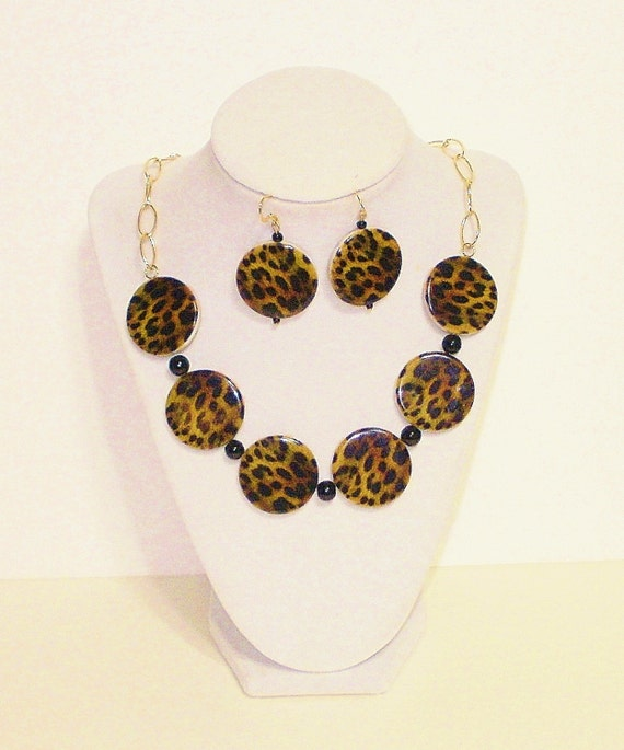 leopard print necklace set fashion jewelry costume by