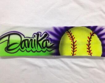 Customized Airbrush Softball Headband