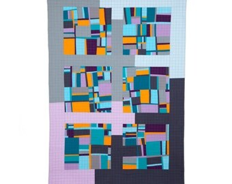 "Art Quilt, Quilt Art, Wallhanging. Motif #15. 51""H x 35""W. Pieced and quilted in 100% cotton, hanging sleeve."