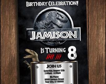Jurassic World Park Dinosaurs Digital Birthday Invitation Personalized Printable Custom