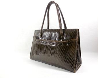 Big French Vintage original 1960 Jackie style. Real leather handbag / shoulderbag. French bag. French Vintage