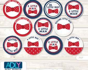 Man Bow Tie Cupcake Toppers for Baby Shower Printable DIY, favor tags, circles, It's a Man, Red Navy- aa65bs0