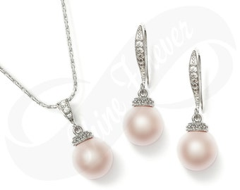 Bridesmaid Jewelry Set Bridal Pearl Jewelry Set Swarovski Crystal Cubic Zirconia Drop Earrings Bridesmaid Jewelry Set Rosaline Pearl Wedding